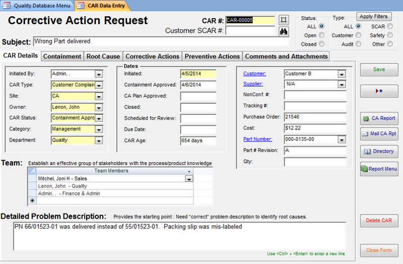 Efficient software to manage corrective and preventive actions internal audits reliable Screen Shot