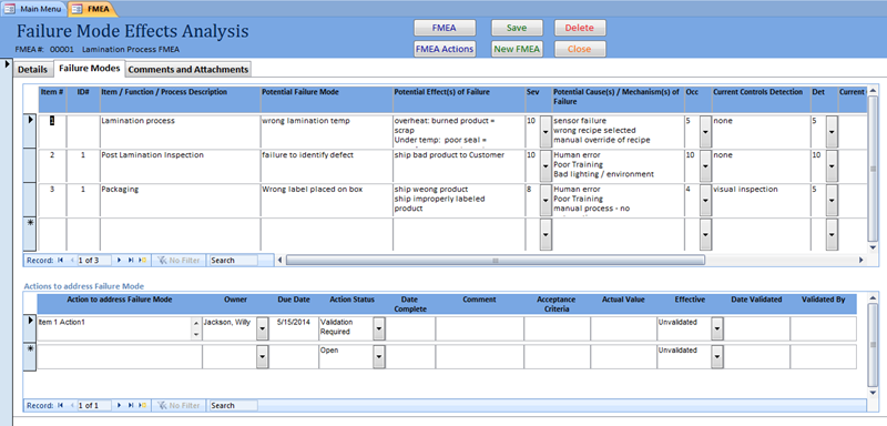Click to view SBS FMEA Database screenshots