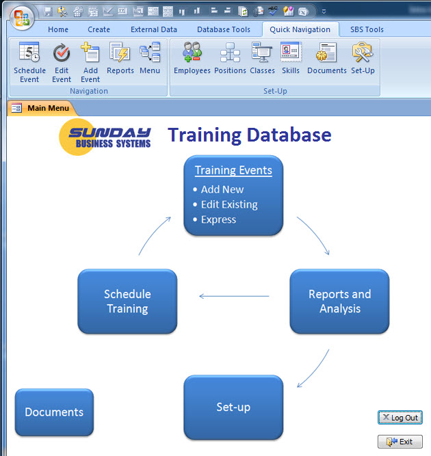 Click to view SBS Training Database screenshots