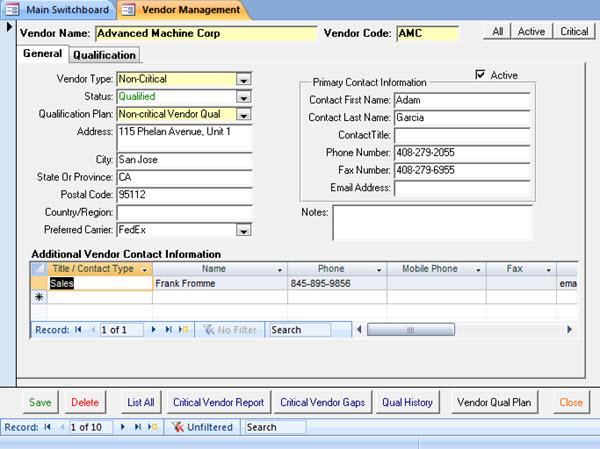 SBS Vendor Management full screenshot